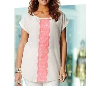 SIMPLY BE LACE TRIM TOP - NUDE WOMEN'S 18W